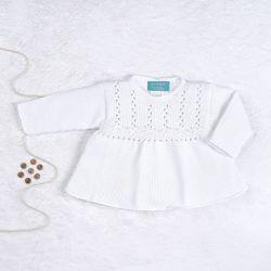 Vestido Tricot Principessa com Pérolas Branco