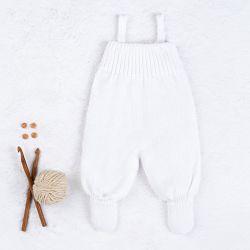 Jardineira Tricot Canelado com Botões Branco