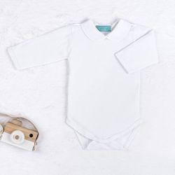 Body Manga Longa Bordado Camélia Branco