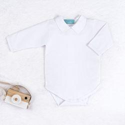 Body Manga Longa Bordado Requinte Branco