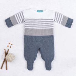 Macacão Tricot Listrado Reizinho Azul Jeans