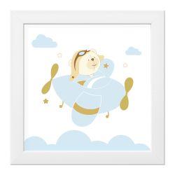 Quadro Urso Aviador Azul Bebê