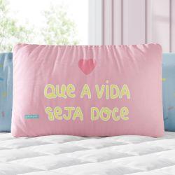 Almofada Retangular Que a Vida Seja Doce Rosa 39cm