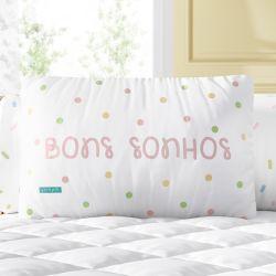 Almofada Retangular Bons Sonhos Poá Colorido 39cm