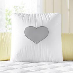 Almofada Decorativa Coração Branco e Cinza 33cm