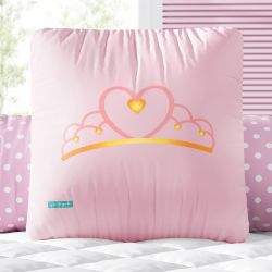 Almofada Quadrada Coroa Coração Rosa 33cm