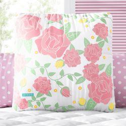 Almofada Quadrada Rosa Provençal 30cm