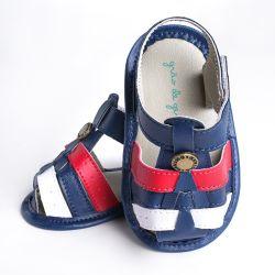 Sandália de Bebê Tiras Tricolor Navy Azul Marinho