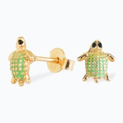 Brinco Infantil Tartaruga Verde e Ouro