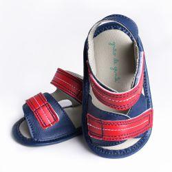 Sandália Papete de Bebê com Velcro Azul Marinho e Vermelho