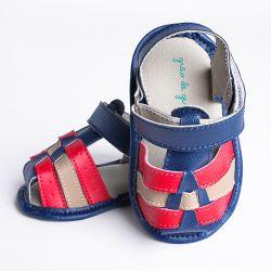 Sandália de Bebê Tiras Tricolor Azul Marinho, Vermelho e Bege