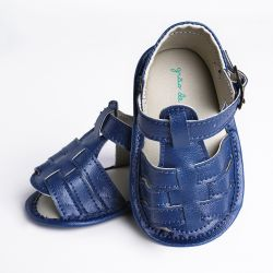 Sandália de Bebê Tiras com Calcanhar Fechado Azul Marinho