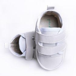 Tênis Bebê Casual Velcro Duplo Branco
