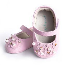 Sapatilha de Bebê Petit Fleur Strass e Pérola Rosa