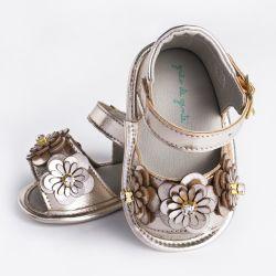 Sandália de Bebê Margaridas e Strass Ouro