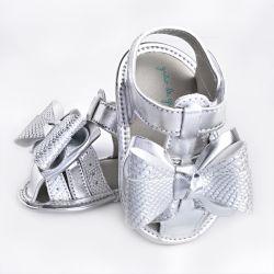 Sandália de Bebê Maxi Laço Glow Prata