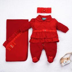 Saída Maternidade Imperatriz Vermelho 03 Peças