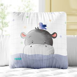 Almofada Quadrada Hipopótamo e Passarinho 33cm