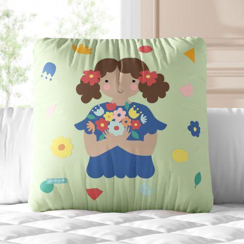 Almofada Quadrada Menina Flor Melissa 30cm