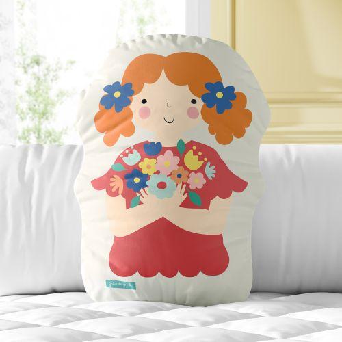 Almofada Menina Flor Margarida com Buquê 33cm