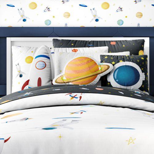 Kit Cama Infantil Solteiro Astronauta Branco e Preto