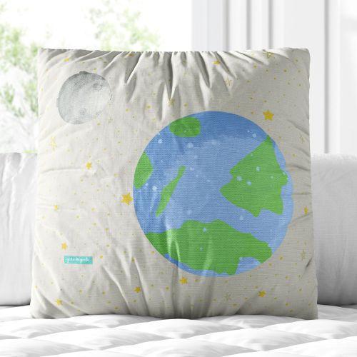 Almofada Quadrada Planeta Terra e Mercúrio 30cm