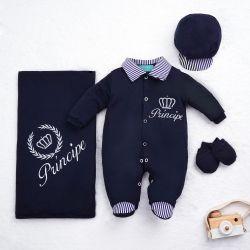 Saída Maternidade Menino Príncipe Azul Marinho 04 Peças