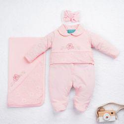 Saída Maternidade Renda Delicada Rosa 03 Peças