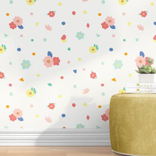 Papel de Parede Colorido Menina Flor 3M
