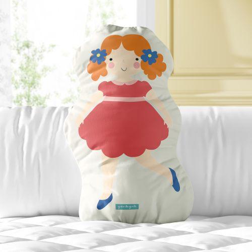 Almofada Boneca Menina Flor Margarida 33cm