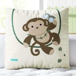 Almofada Quadrada Aventura Safári Macaco 33cm