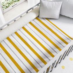 Manta de Tricot Listras Amarelo Mostarda e Cinza 1,45M