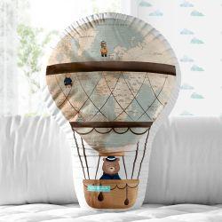 Almofada Balão Teddy Pelo Mundo 33cm