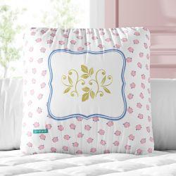 Almofada Quadrada Arabesco Floral Liberty Rosa e Azul 30cm