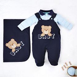 Saída Maternidade Jardineira Ursinho Baby Azul Marinho 03 Peças