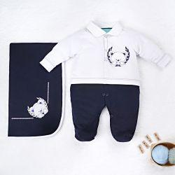 Saída Maternidade Ursinho Polar Azul Marinho 02 Peças