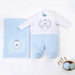 Saída Maternidade Ursinho Realeza Azul Bebê 02 Peças