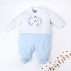 Macacão Ursinho Realeza Azul Bebê