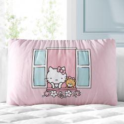 Almofada Retangular Hello Kitty na Janela Rosa 35cm