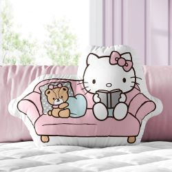 Almofada Hello Kitty no Sofá Rosa 32cm