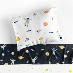 Jogo de Lençol Infantil Solteiro Astronauta Branco e Preto