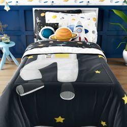 Edredom Infantil Solteiro Astronauta nas Estrelas Preto