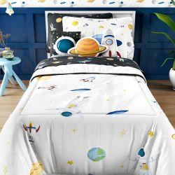 Edredom Infantil Solteiro Astronauta Branco