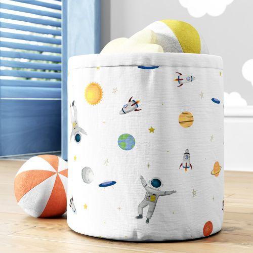 Cesto Organizador para Brinquedos Astronauta e Planetas Branco 24cm