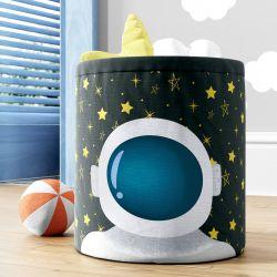 Cesto Organizador para Brinquedos Astronauta nas Estrelas Azul Marinho 28cm