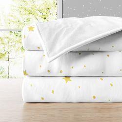 Manta Infantil Solteiro Plush Estrelinhas Amarelo 1,48M