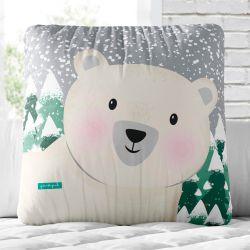 Almofada Quadrada Ursinho Polar 33cm