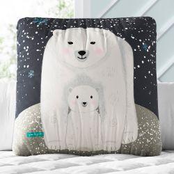 Almofada Quadrada Mamãe e Bebê Ursinho Polar 33cm