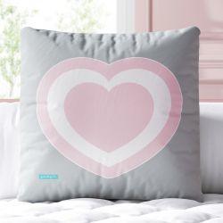 Almofada Quadrada Coração da Mamãe Rosa e Cinza 33cm