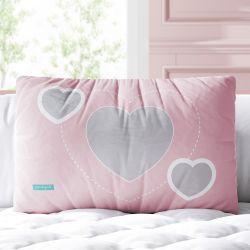 Almofada Retangular Três Corações Rosa e Cinza 39cm
